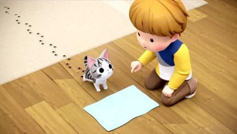 《甜甜私房猫》小奇把脚擦一下吧,看把地板弄得全是你的小脚印!