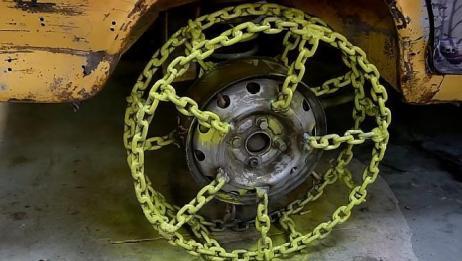 老外用铁链做汽车轮胎,中空的外形有没有惊艳到你?一起见识下