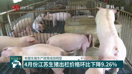 恢复生猪生产政策成效明显:4月份江苏生猪出栏价格环比下降9.26%