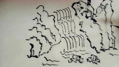 外出山间小溪游玩,回家画成水墨叠泉图,简单好学