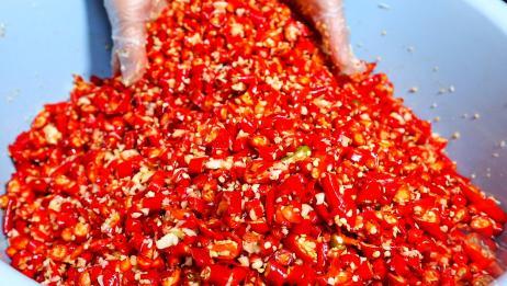 自制剁椒酱,一次腌20斤,香辣下饭,放一年不会坏!