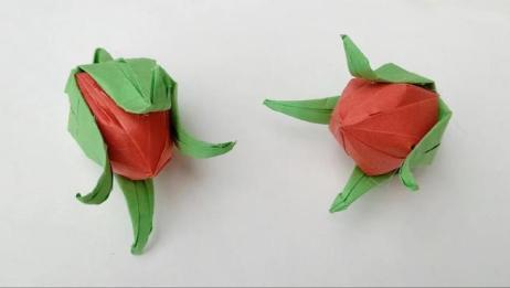 手工折纸:含苞待放的玫瑰花折纸方法
