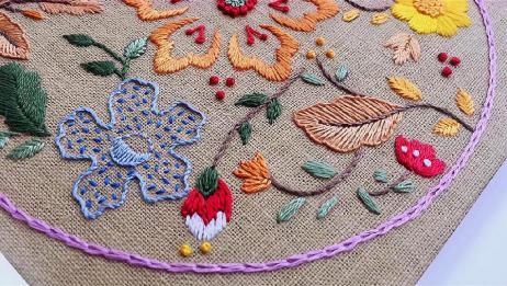 手工刺绣——大小形态各异的叶子要用最适合的针法来绣制