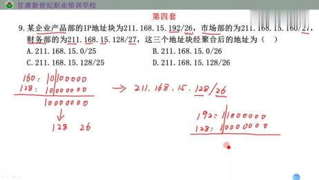 三级网络:第三章IP地址聚合选择题解析
