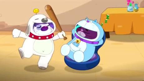 开心宝贝:大大怪让怪兽在小小怪身上试验,趁他反应不过来抢他头盔