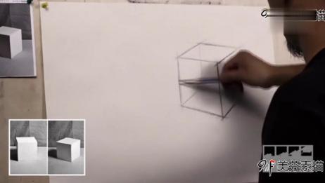 素描入门,立方体形体打形方法,透视的画法