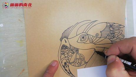 一起来画画一支记号笔也能画出漂亮的装饰画线描鹦鹉装饰画
