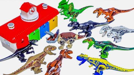 创意恐龙拼装配对游戏 迅猛龙三角龙