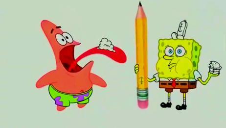 海绵宝宝从脑袋里抽出一支铅笔,派大星画了笑笑的海绵,好神奇!