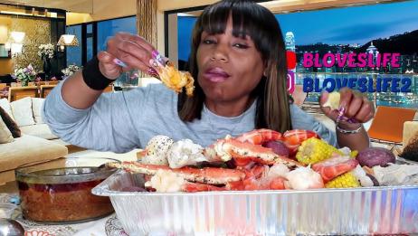 【吃蟹阿姨】又是一大盆帝王蟹腿+大虾 配上辣酱 我枯了