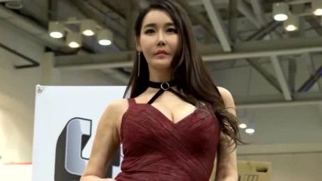 韩国美女车模,性感红裙太撩人不看别后悔!