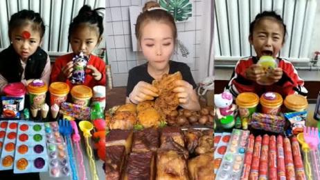 吃播大胃王:吃货萱萱吃驴板肠,这也太馋人了!