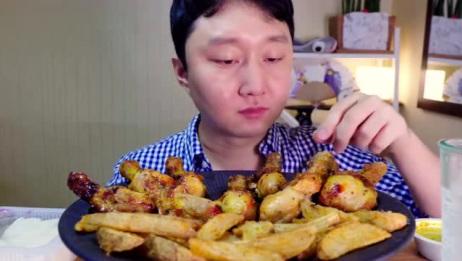 美味香炸鸡腿帅哥吃的很快乐,大口肉吃的好爽,看着好过瘾