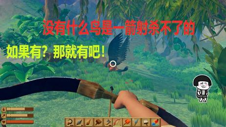 木筏求生:用弓箭试着攻击抓石头砸我的鳕鱼,没想到还真能杀死它