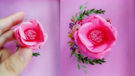 简单易学的山茶花折纸手工教学DIY纸花装饰