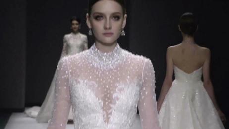 婚纱秀:豪门媳妇看过来,镶满钻的奢华婚纱,堪称婚纱中的贵族!