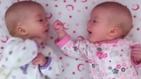双胞胎宝宝一见面就咿咿呀呀说个不停,心都萌化了