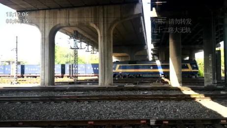 东风8B牵引集装箱货列,从天津南仓编组站发车