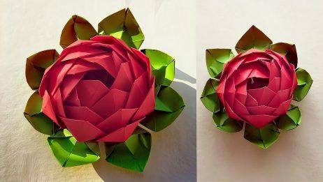 手工折纸,一朵大红的玫瑰花含苞待放,喜欢就来学