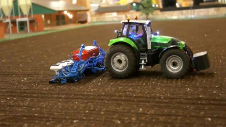 RC遥控车:拖拉机,挖掘机,卡车在努力工作