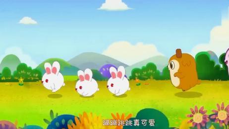 小白兔歌:小白兔白又白,两只耳朵竖起来!