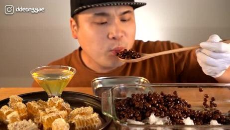 【韩国吃播3倍速】豪放派Donkey弟弟狂吃木薯粉圆和蜂巢蜜