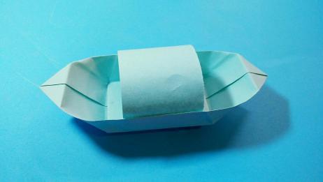 折纸船视频教程,如何折带棚子的平底船,折纸船大全