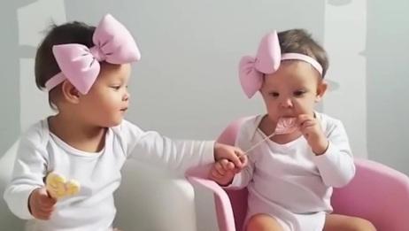 双胞胎宝宝咿咿呀呀聊天,只有对方能听懂,真是心有灵犀一点通啊