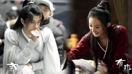 《有翡》最新剧照,赵丽颖王一博拿树枝对戏,甜蜜感溢出屏幕!