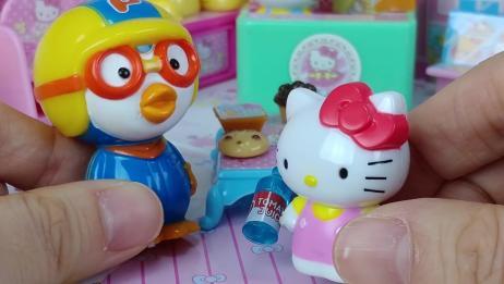 小企鹅pororo带hello Kitty去买好吃的!