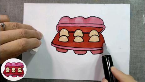 亲子简笔画教程。鸡蛋简笔画绘画过程分享
