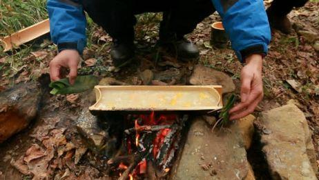 野外简易制作一道农村家常美食甜酒煮红薯