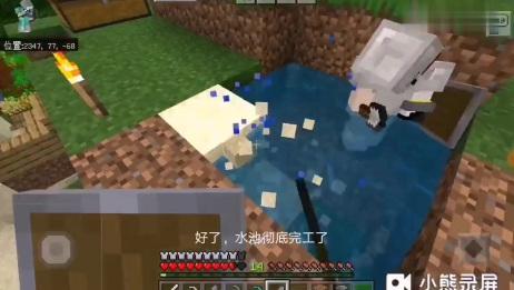 我的世界双人联机第12期:终于找到失败的原因,做了个水池方便下