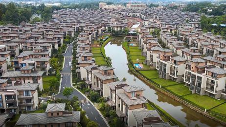 航拍广东省佛山市高明区美的鹭湖度假区别墅群,200多W一栋的豪宅