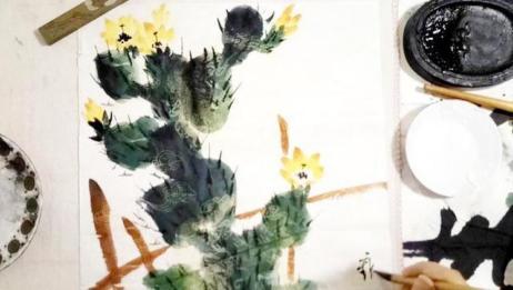写意仙人掌的完整构图画法1小石国画