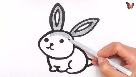 简易画教你画灰色的小兔子