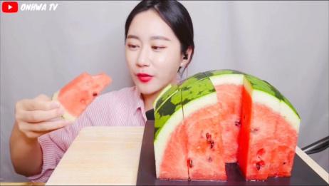 吃播剪说话 ONHWA小姐姐吃西瓜,real sound