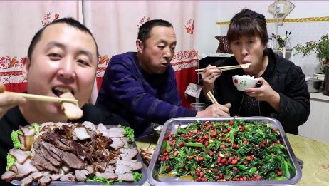 """大彭卤一锅""""酱肉""""搭配菠菜花生米,做下酒菜,吃肉喝酒过瘾"""