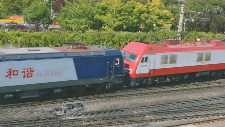 火车迷:超喜欢的SS9牵引,HXD3C型电力机车,缓慢出站!