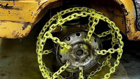 铁链制作的轮胎能在雪地上奔驰吗?国外小哥亲测,一起来看看吧