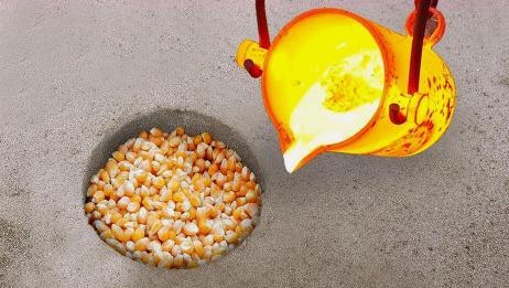 老外用1000℃岩浆VS玉米,能制作出爆米花吗?接触画面太霸气