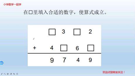简单有趣的加法竖式数字谜1,方框里填多少?