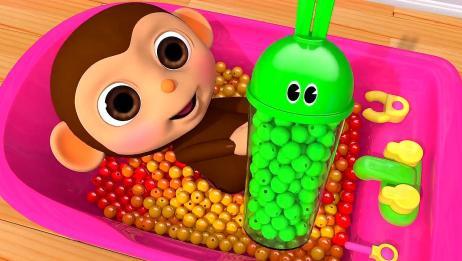 育儿早教!宝宝学颜色!这么多糖果倒在浴缸里,真好玩!