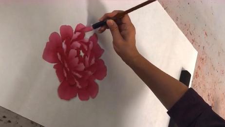 国画:牡丹花头的画法展示,过程清晰简单,值得收藏!