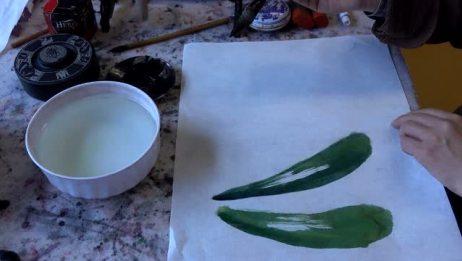 丝瓜叶子和藤条的画法