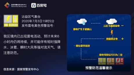 沾益区气象台发布雷电黄色预警「Ⅲ级/较重」