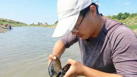 农村小伙下河摸河蚌,空河蚌壳也不要放过,里面总会有小惊喜