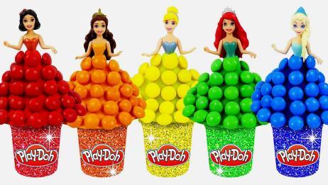 真有趣!看看如何利用糖果和彩泥,给迪士尼公主制作漂亮裙子吧