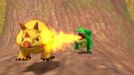 驯龙斗士:鸡腿争夺战,霸王龙到处喷火,就知道耍赖