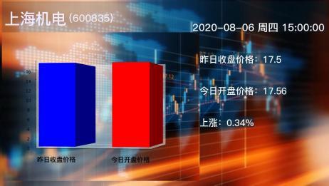 2020年08月06日上海机电公司股票情况